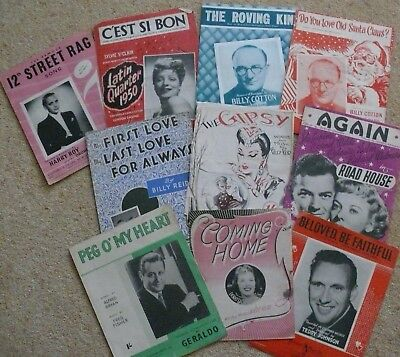 10 Pieces of VINTAGE PIANO SHEET MUSIC