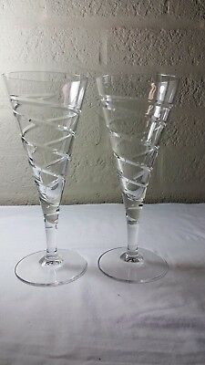 Royal Doulton glass spiral swirl twist large  8 1/2 inch wine glasses. Rdc42