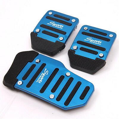 3 Pcs/Set Universal Aluminum Car Pedal Brake Manual Gear Clutch Pedals CoverBlue