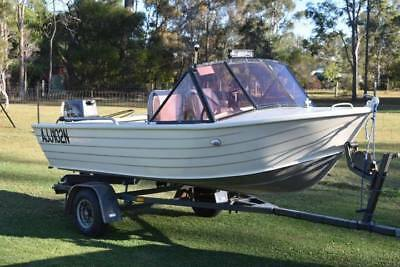 4 Metre Stessl Tinny, Brand new 30Hp Tohatsu, and Trailer package.