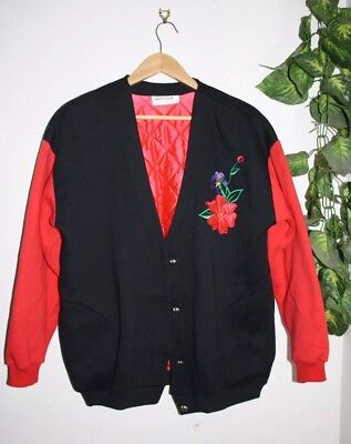 Vintage Quilt Red and Black Jacket with Flower Embroidery Size M-L