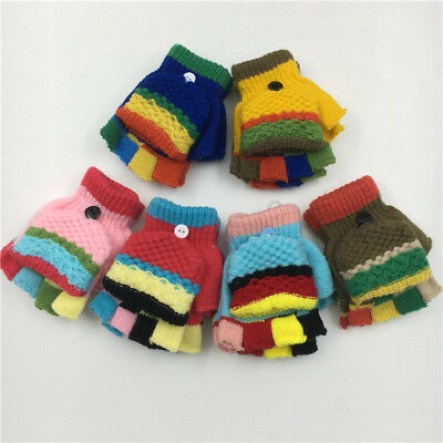 Baby Girl Boy Toddler Kid Winter Warm Knitted Mitten Flip Half Finger Glove f65