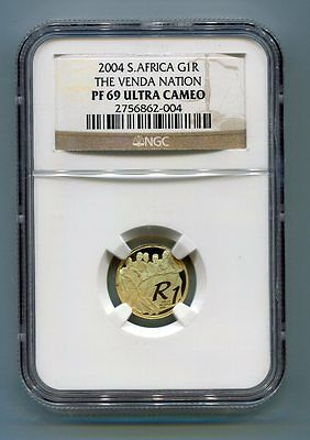 NGC Graded South Africa 2004 R1 - The Venda Nation PF 69 Ultra Cameo Gold Coin