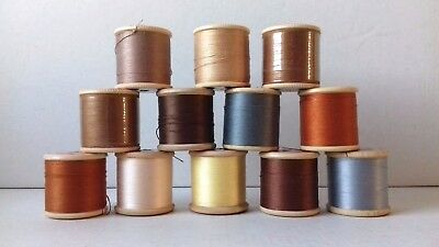 12 Vintage Dewhurst Sylko Cotton Reels = Mixed Colours