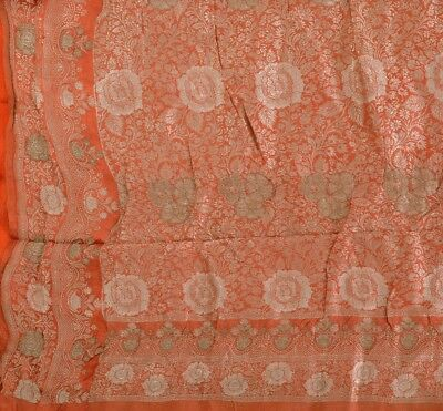 Antique Vintage 100% Pure Silk Sari Peach Saree With Woven Painted Work