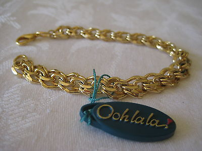 Vintage Oohlala gold plated bracelet with ornately interwoven triangular links