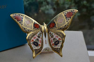 "Royal Crown Derby Paperweight ""Old Imari Solid Gold Band ""BUTTERFLY"" 1st Quality"