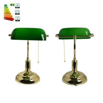 VINTAGE Bankers Desk Lamp Green High Quality.ANTIQUE Advocate Table Lamps.Brass