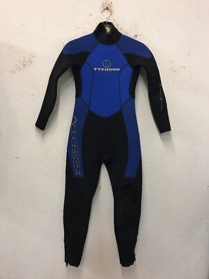 Size 12-14 Years Blue/Black Zip Fastening One Piece Wetsuit By Typhoon