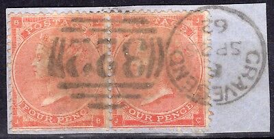 """(716) VERY GOOD USED PAIR SG79 QV 4d BRIGHT RED PLATE 3 """"GRAVESEND"""" PMK ON PIECE"""