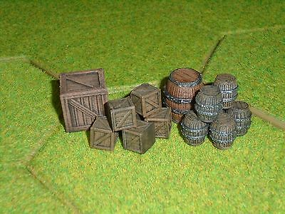 28mm Small Barrels & Crates (Compatible With Frostgrave, Blood & Plunder, D & D)