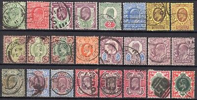 (726) 24 Very Good Lightly Used Edvii Issues To 1/- Some Shades.
