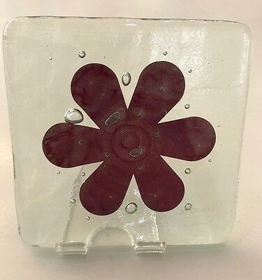 Genuine Jo Downs Bespoke Fused Glass Flower Coaster Direct From The Studio