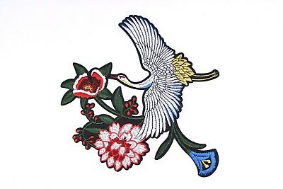 Crane & Flower Patch (1 Pcs) Japan Floral Iron On Embroidered T-shirt Applique
