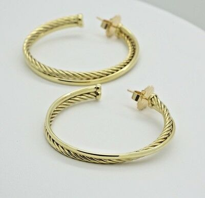 David Yurman Extra Large Crossover Hoop Earrings in 18k Yellow Gold 42 mm