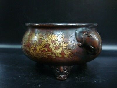 "Old Chinese Bronze Casting Elephant Heads Censer ""QianQingGongBao"" Marked"