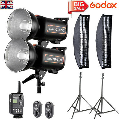 UK 2*Godox High Speed QT600 600W Studio Flash+FT-16 Trigger+35*160CM softbox Kit