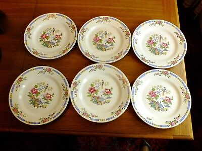Vintage Lord Nelson T`sing Bird Of Paradise Dinner Plates X 6