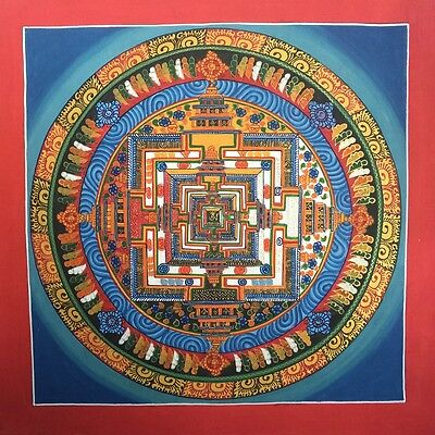 Original Tibetan Chinese HandPainted Signed Mandala Gold leaf Thangka Painting 8