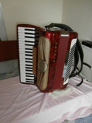 Hohner Piano Accordion 120 Bass Musette 1V Red With Case New Straps