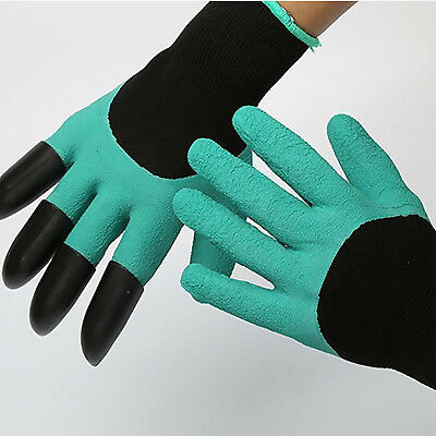 Gardening Work Safety Gloves For Garden Digging Planting With 4 ABS Plastic Claw