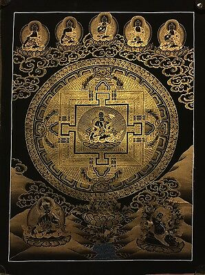 Large Handpainted Tibetan Chinese Buddha Mandala Enlightenment Thangka Painting