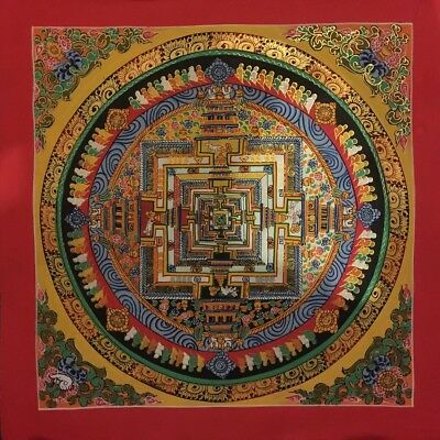 Original Handpainted Tibetan Chinese Mandala Thangka Gold Meditation Painting