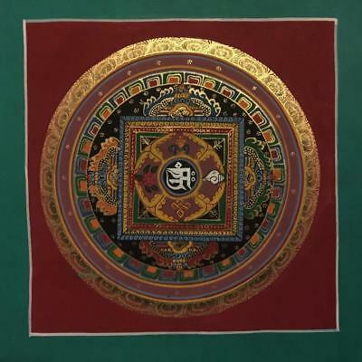Original Handpainted Tibetan Chinese Mandala Thangka Painting Meditation Art b5