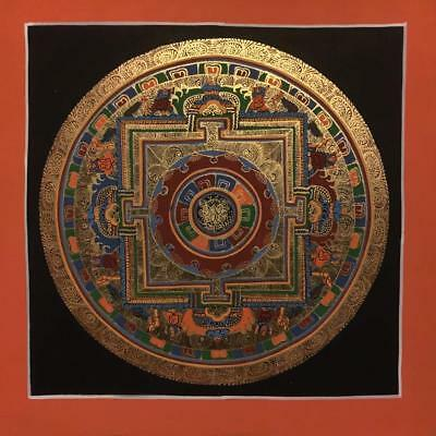 Original Handpainted Tibetan Chinese Mandala Thangka Painting Meditation Art b2