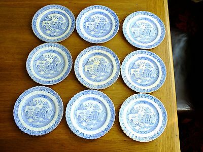 Very Old Blue & White Willow Pattern Side Plates X 9