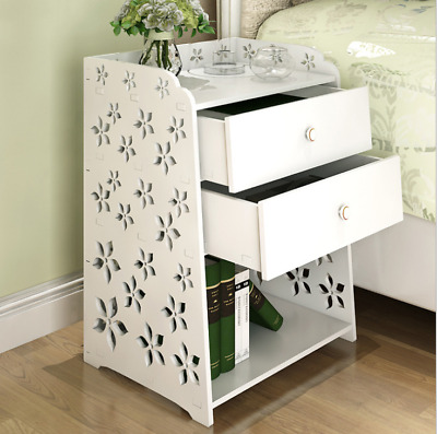 auwes Bedside Table Rack Cabinet Organizer Night Stand Bedroom Drawers White