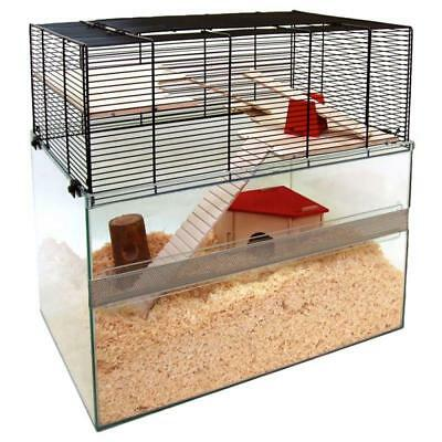 2-Tier Small Pet Cage Hamster Mice GLASS Terrarium Wire Mesh Sides ACCESSORIES