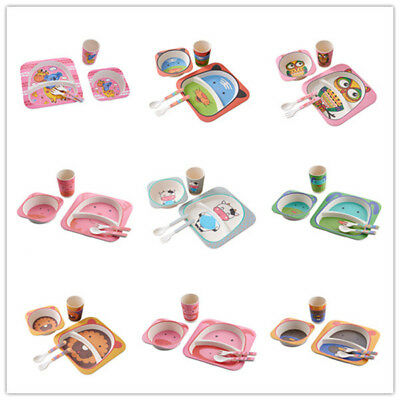 5pcs/set Baby Kid Feeding Tableware Set Cartoon Printing Pattern Bamboo Fiber
