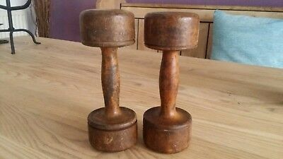 Antique Wooden Dumbell