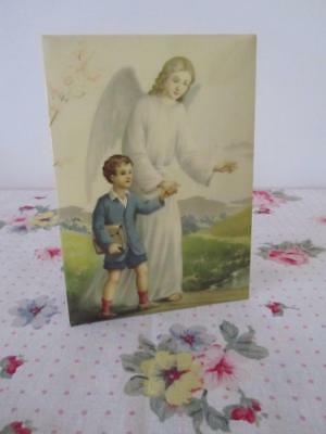 Vintage CELLULOID Pressed TIN Framed Religious Icon ANGEL & Boy
