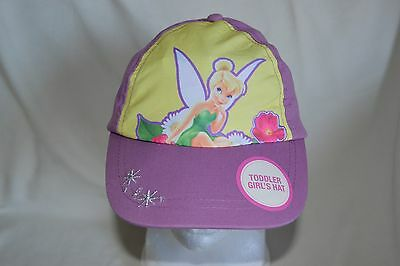 Disney Tinkerbell Youth Adjustable Baseball Hat NWT Purple Yellow Flowers Stars