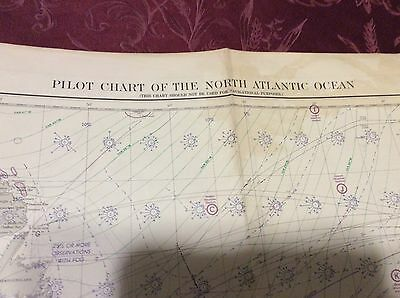 Vintage circa 1950 USC&GS Chart Map - 2 sided North Atlantic Ocean Pilot Chart