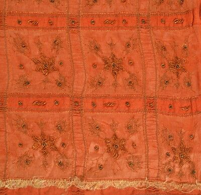 TCW Vintage Indian Saree Pure Silk Orange Sari Fabric Hand Beaded Zari
