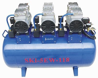 1pc One Driving Five 118L Medical Noiseless Oilless Dental Air Compressor CE KOL