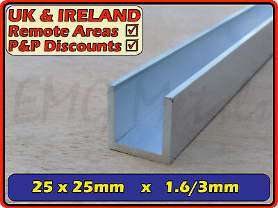 Aluminium Channel (C U section, gutter, profile, glazing,alloy)| 25x25 mm / 1x1""