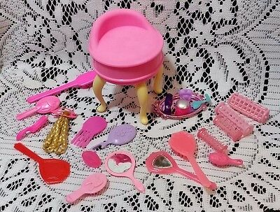 Barbie Vanity and Beauty Supplies Lot Brushes Mirror Hair Fair Piece Vintage