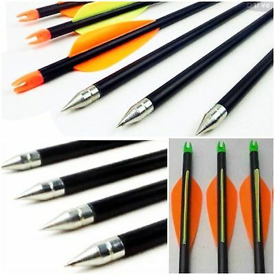 "12  Fibreglass Steel Tip Archery Arrows Bow  Field & Target 31.5"" uk seller"