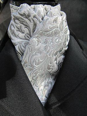 Ready Tied Grey & Silver Nouveau Design Brocade Dressage Showing Riding Stock