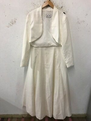 Size 16 Cream Sleeveless Beaded Ballgown Wedding Dress W/ Matching Jacket /Ellis