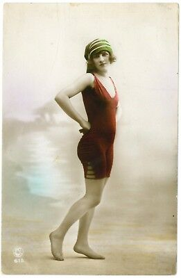 Beautiful glamour postcard, young bathing lady. Early 1900's, Used.