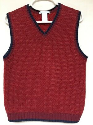 Janie And Jack Boys Size 6 Red Sweater Vest With Blue & Maroon Trim GUC