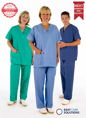 Medical Scrub Uniform TUNIC & TROUSER Set, Unisex NHS Compliant Hospital Suit