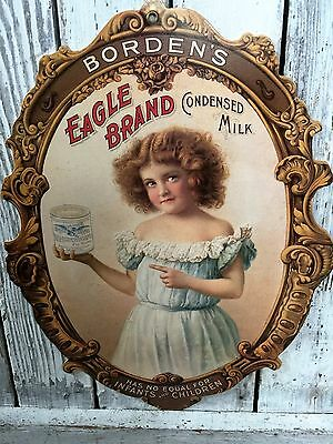 Advertising Borden's Eagle Brand Condensed Milk Dairy Sign Borden Cardstock