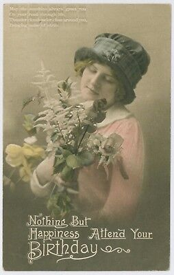 Beautiful young lady / girl portrait postcard, postmarked 1916, to South Shields
