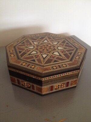 Vintage Jewellery Box Moroccan Marquetry Wood Hinged Lid Lined Inner Antique Sta